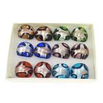 кольцо Лампворк, Лэмпворк, золотой песок и серебряное фольгирование, разноцветный, 28x26x24mm, отверстие:Приблизительно 18mm, размер:8, 12ПК/Box, продается Box