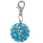 Resin Pendant, Round, blue, 16mm, Hole:Approx 4x4.5mm, 50PCs/Bag, Sold By Bag