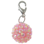 Resin Pendant, Round, pink, 16mm, Hole:Approx 4x4.5mm, 50PCs/Bag, Sold By Bag