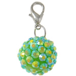 Resin Pendant, Round, green, 16mm, Hole:Approx 4x4.5mm, 50PCs/Bag, Sold By Bag