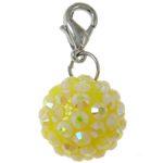 Resin Pendant, Round, yellow, 16mm, Hole:Approx 4x4.5mm, 50PCs/Bag, Sold By Bag