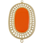 Iron Connectors, Oval, enamel & 1/1 loop, orange, nickel, lead & cadmium free, 28.50x46.50x1mm, Hole:Approx 1.5mm, 500PCs/Bag, Sold By Bag
