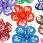 Koraliki z gliny polimerowej, Glina polimerowa, Kwiat, mieszane kolory, 21x8-24x12mm, otwór:około 1-2mm, 100komputery/torba, sprzedane przez torba