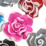Koraliki z gliny polimerowej, Glina polimerowa, Kwiat, mieszane kolory, 15x9-18x11mm, otwór:około 1-2mm, 100komputery/torba, sprzedane przez torba