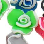 Polymer Clay Beads, Flower, mixed colors, 15x11-16x10mm, Hole:Approx 1-2mm, 100PCs/Bag, Sold By Bag