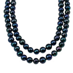 Natural Freshwater Pearl Necklace Round black 9-10mm Sold Per 44.5 Inch Strand