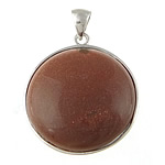 Natural Goldstone Pendants, with Brass, Coin, nickel, lead & cadmium free, 32x32x10mm, Hole:Approx 5x7mm, Sold By PC