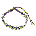 Friendship Bracelet, faceted crystal beads &amp; leather cord &amp; brass clasp &amp; cotton cord, 4x4.5mm, 11mm, 10Strands/Group, Length:approx 8Inch, Sold by Group