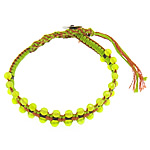 Friendship Bracelet, Jade, with Leather & Cotton Cord & Brass, 4x4.5mm, 11mm, Length:Approx 8 Inch, 10Strands/Lot, Sold By Lot