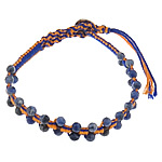 Friendship Bracelet, Sodalite, with Leather & Cotton Cord & Brass, natural, 4x4.5mm, 11mm, Length:Approx 8 Inch, 5Strands/Lot, Sold By Lot