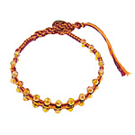 Friendship Bracelet, faceted crystal beads &amp; leather cord &amp; brass clasp &amp; cotton cord, 4x4.5mm, 11mm, 10Strands/Lot, Length:approx 9 Inch, Sold by Lot