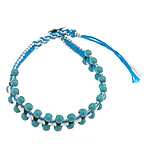 Friendship Bracelet, turquoise beads &amp; leather cord &amp; brass clasp &amp; cotton cord, 4x4.5mm, 12mm, 10Strands/Lot, Length:approx 8 Inch, Sold by Lot