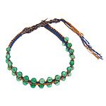 Friendship Bracelet, green aventurine beads &amp; leather cord &amp; brass clasp &amp; cotton cord, 4x4.5mm, 11mm, 10Strands/Lot, Length:approx 8 Inch, Sold by Lot