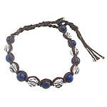 Friendship Bracelet, lapis lazuli beads &amp; faceted crystal beads &amp; brass clasp &amp; cotton cord, 8mm, 10Strands/Lot, Length:approx 9 Inch, Sold by Lot