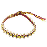 Friendship Bracelet, Crystal, with Leather & Cotton Cord & Brass, woven, faceted, 4x4.5mm, 11mm, Length:Approx 8 Inch, 10Strands/Lot, Sold By Lot