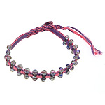 Friendship Bracelet, faceted crystal beads &amp; leather cord &amp; brass clasp &amp; cotton cord, 4x4.5mm, 11mm, 10Strands/Lot, Length:approx 8 Inch, Sold by Lot