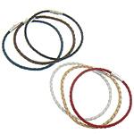 Pulseras de Cuero, latón cierre magnético, color mixto, 3mm, longitud:aproximado 8 Inch, 50Strandsfilamento/Grupo, Vendido por Grupo