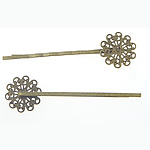 Hair Clip Findings, flower shape, antique bronze color, nickel, lead &amp; cadmium free, 17x17mm, 55x2mm, 300PCs/Bag, Sold by Bag