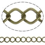 Iron Rhombus Chain, antique bronze color plated, nickel, lead & cadmium free, 11x9x1.60mm, Length:25 m