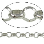 Iron Rolo Chain, platinum color plated, nickel, lead & cadmium free, 8x2.50mm, 20m/Lot, Sold By Lot