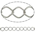 Iron Rhombus Chain, platinum color plated, nickel, lead & cadmium free, 12.50x10x1.40mm, Length:25 m