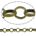 Iron Rolo Chain, antique bronze color plated, nickel, lead & cadmium free, 5.50x1.50mm, 25m/Lot, Sold By Lot