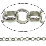 Iron Rolo Chain, platinum color plated, nickel, lead & cadmium free, 7x2.50mm, 25m/Lot, Sold By Lot