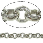Iron Rolo Chain, platinum color plated, nickel, lead & cadmium free, 4.40x4.50x1.50mm, 50m/Lot, Sold By Lot