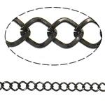 Iron Rhombus Chain, plumbum black color plated, nickel, lead & cadmium free, 7.30x8.70x1.30mm, Length:25 m