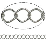 Iron Rhombus Chain, platinum color plated, nickel, lead & cadmium free, 8x10.70x1.40mm, Length:25 m