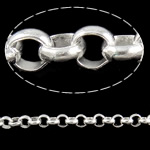 Iron Rolo Chain, silver color plated, nickel, lead & cadmium free, 10x3.30mm, 10m/Lot, Sold By Lot