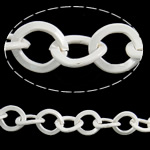 Iron Oval Chain, electrophoresis, white, nickel, lead & cadmium free, 9.50x8.80x1.20mm, 50m/Bag, Sold By Bag