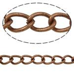 Żelazny drut na pętli, żelazo, Owal, Platerowane kolorem starej miedzi, bez zawartości niklu, ołowiu i kadmu, 7.30x4.50x1.20mm, długość:50 m