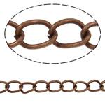 Żelazny drut na pętli, żelazo, Owal, Platerowane kolorem starej miedzi, bez zawartości niklu, ołowiu i kadmu, 4.80x3.20x0.60mm, długość:50 m