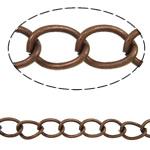 Żelazny drut na pętli, żelazo, Owal, Platerowane kolorem starej miedzi, bez zawartości niklu, ołowiu i kadmu, 5.50x4x0.70mm, długość:50 m