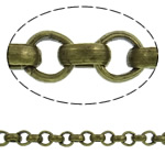 Iron Rolo Chain, antique bronze color plated, nickel, lead & cadmium free, 2x0.70mm, Length:100 m, Sold By PC