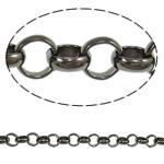 Iron Rolo Chain, plumbum black color plated, nickel, lead & cadmium free, 8x2.50mm, Length:20 m