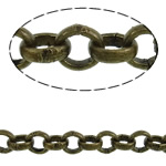 Iron Rolo Chain, antique bronze color plated, nickel, lead & cadmium free, 2.50x0.80mm, Length:100 m, Sold By PC