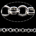 Iron Rolo Chain, silver color plated, nickel, lead & cadmium free, 3.20x0.90mm, 100m/Lot, Sold By Lot