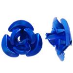 Aluminium bloem kralen, geschilderd, blauw, 6x7x4mm, Gat:Ca 1mm, 950pC's/Bag, Verkocht door Bag