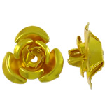 Aluminium bloem kralen, geschilderd, goud, 12x11.50x6mm, Gat:Ca 1.3mm, 950pC's/Bag, Verkocht door Bag