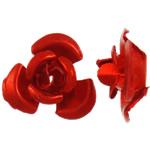 Aluminium bloem kralen, geschilderd, rood, 6x7x4mm, Gat:Ca 1mm, 950pC's/Bag, Verkocht door Bag