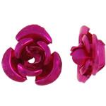 Aluminium bloem kralen, geschilderd, fuchsia roze, 8x8.50x5mm, Gat:Ca 1.1mm, 950pC's/Bag, Verkocht door Bag