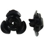 Alumiini kukka helmiä, maalannut, musta, 12x11.50x6mm, Reikä:N. 1.3mm, 950PC/laukku, Myymät laukku