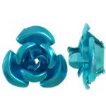 Aluminium bloem kralen, geschilderd, blauw, 12x11.50x6mm, Gat:Ca 1.3mm, 950pC's/Bag, Verkocht door Bag