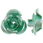 Alumiini kukka helmiä, maalannut, vihreä, 12x11.50x6mm, Reikä:N. 1.3mm, 950PC/laukku, Myymät laukku