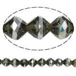 Imitation CRYSTALLIZED™ Element Crystal Beads, Bicone, platinum color plated, faceted & imitation CRYSTALLIZED™ element crystal, Montana, 10mm, Hole:Approx 1.5mm, 33PCs/Strand, Sold Per 12.5 Inch Strand