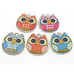 Zinc Alloy Pendants, Owl, mixed colors, nickel, lead & cadmium free, 18.50x19x3mm, Hole:Approx 1.5mm, 100PCs/Bag, Sold By Bag
