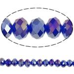 Jäljitelmä CRYSTALLIZED™ kristalli helmiä, Rondelli, AB väri päällystetty, kasvot & jäljitelmä CRYSTALLIZED™n, Tumma Sapphire, 6x8mm, Reikä:N. 1mm, Pituus:17 tuuma, 10säikeet/laukku, Myymät laukku