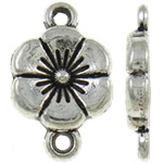 Flower Zinc Alloy Connector, antique silver color plated, 1/1 loop, nickel, lead & cadmium free, 16.50x10x2.20mm, Hole:Approx 2mm, Approx 1110PCs/KG, Sold By KG